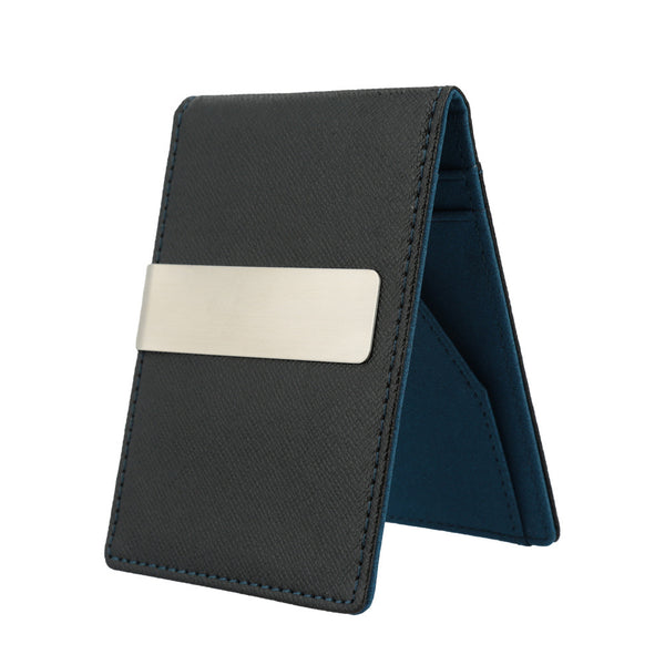 Men Faux Leather Clip Slim Wallet