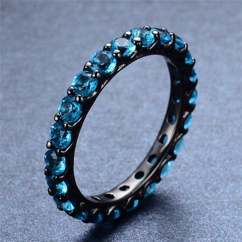 Black Gold Filled Aquamarine Ring