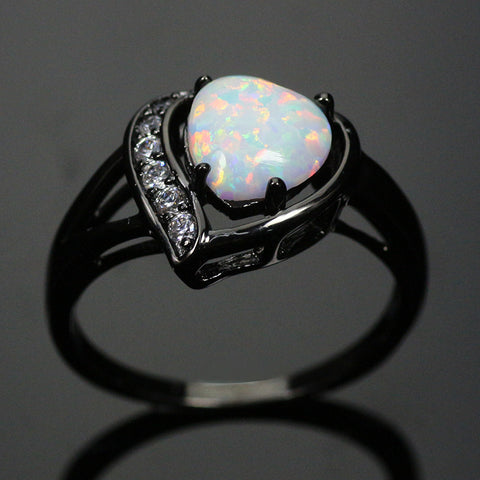 Fire Heart Love Heart Gold Plated Opal Ring
