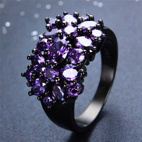 Black Gold Filled Elegant Amethyst Rings
