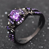 Black Gold Filled Purple Amethyst Ring