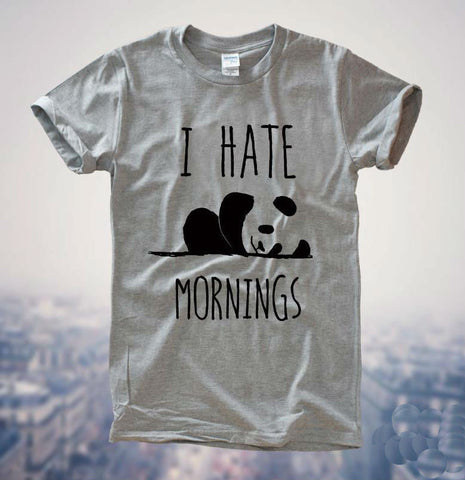 Women I HATE MORNINGS Panda Printed T-Shirt