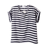 Women Loose Short Sleeve Ladies Striped Heart Lip Tee
