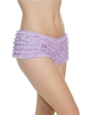 ruffle booty shorts lavender front