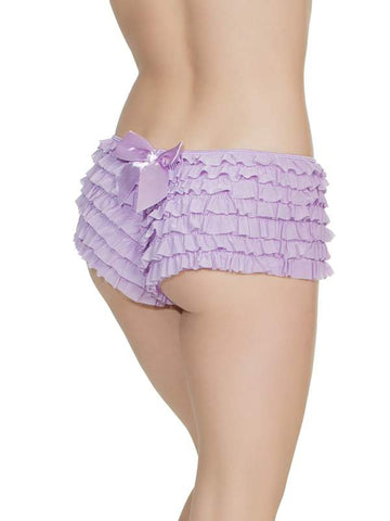 Image of ruffle booty shorts lavender back