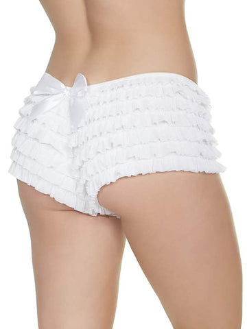 Image of ruffle booty shorts white 1