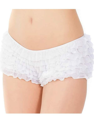 Image of ruffle booty shorts white front