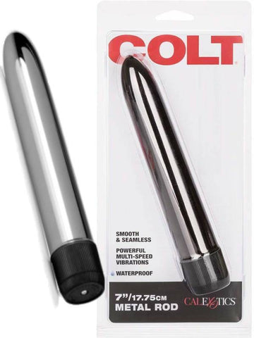 "Image of colt 7"" metal rod vibrator product and packaging"