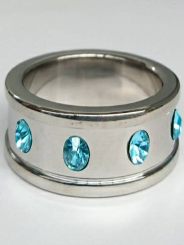 Image of hell's couture deep shallow aqua gem 40mm cock ring