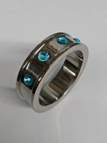 Image of hell's couture deep shallow aqua gem 40mm medical grade steel  cock ring
