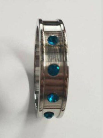 Image of hell's couture deep shallow aqua gem 40mm cock ring 100% non-magnate