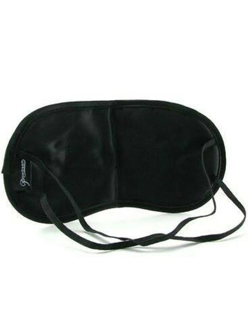 Image of fetish satin love mask black back