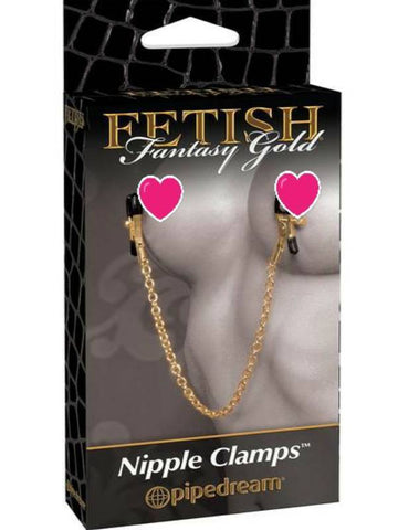 Image of fetish fantasy gold nipple clamps packaging