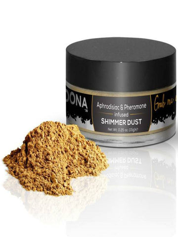 gold shimmer dust product and packaging