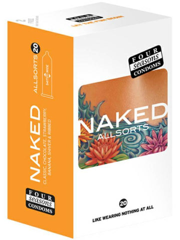 naked allsorts condoms 20 pack packaging