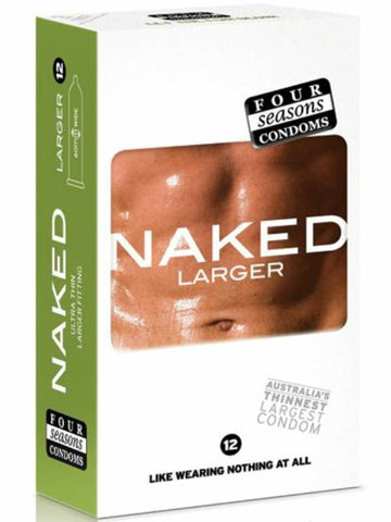 naked larger condoms 12 pack packaging