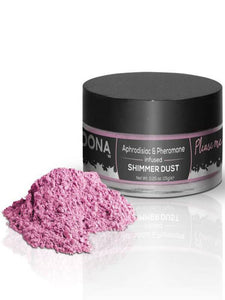 pink shimmer dust by dona product and packaging