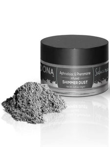 silver shimmer dust by dona product and packaging