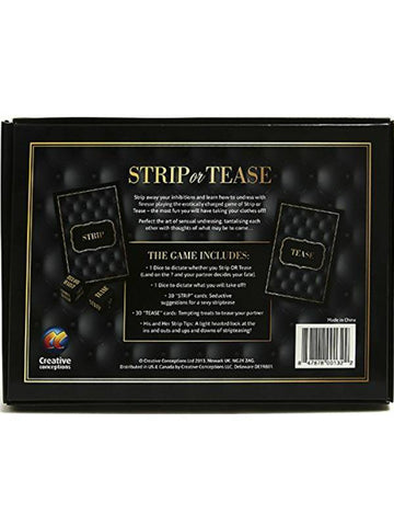 strip or tease game packaging back