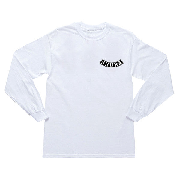 WHITE SHURA SKULL CROSS LONGSLEEVE T-SHIRT