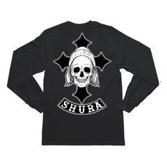 BLACK SHURA SKULL CROSS LONGSLEEVE T-SHIRT