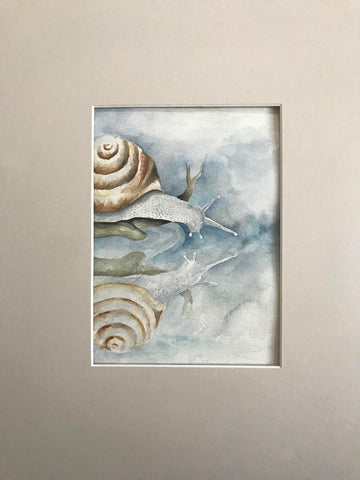 Snail Reflection - Original Watercolor Painting 11x14''