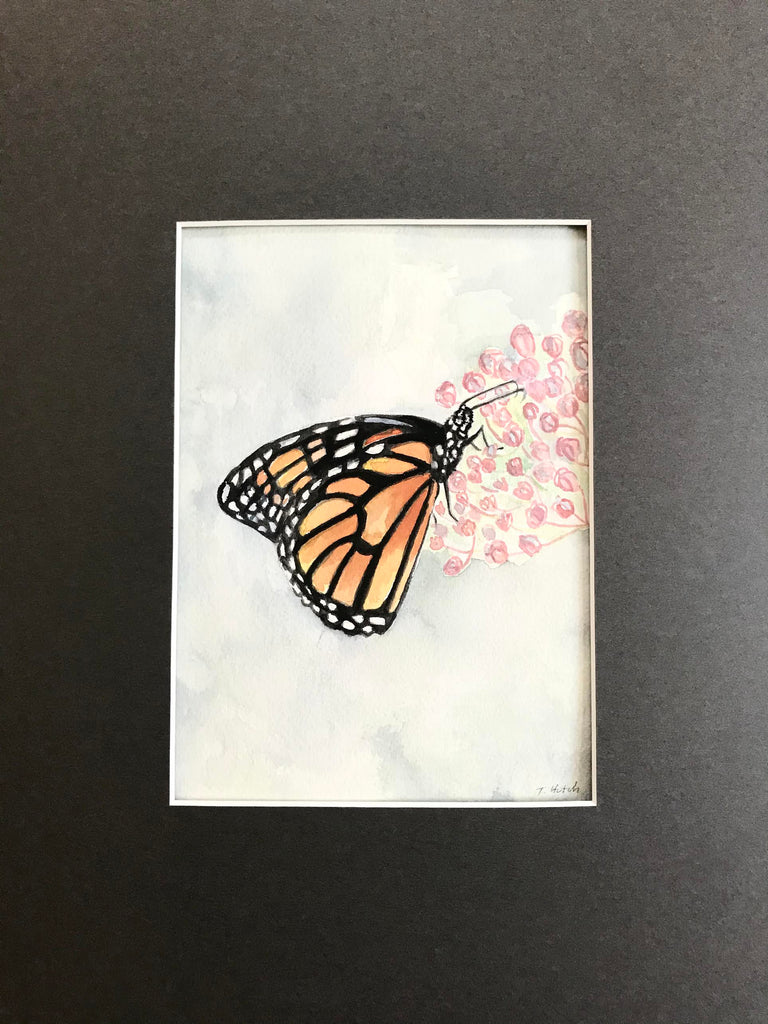Monarch Butterfly - Original Watercolor Painting 11x14''