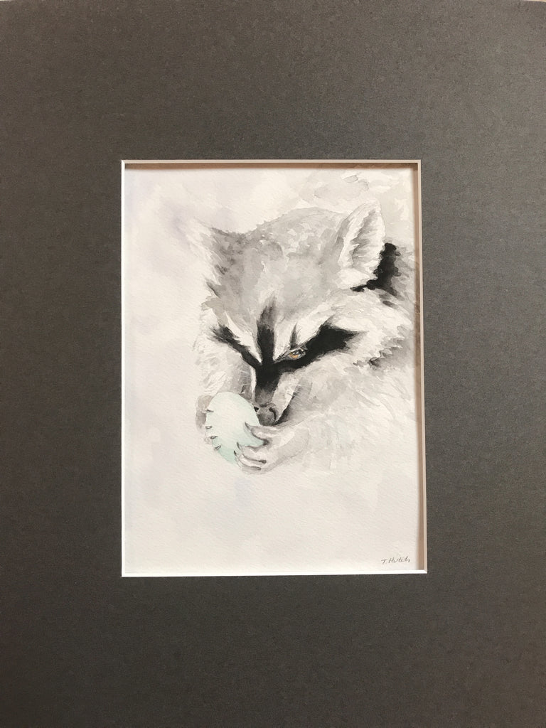 Raccoon - Original Watercolor Painting 11x14''