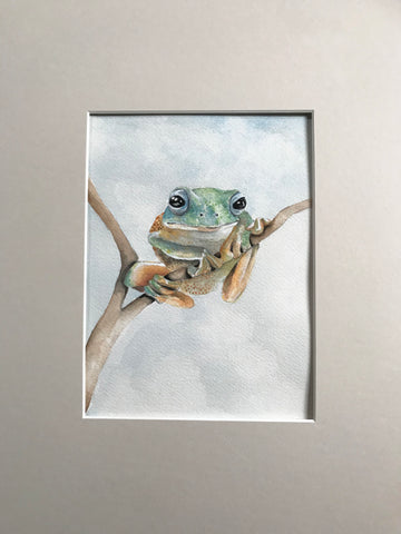 Frog - Original Watercolor Painting 11x14''