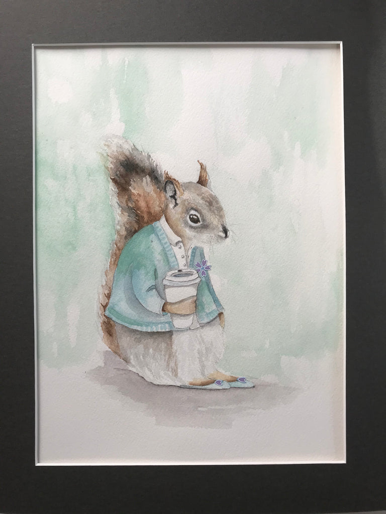 Squirrel with Coffee- Original Watercolor Painting 11x14''