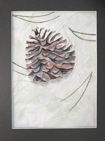 Pinecone- Original Watercolor Painting 11x14''