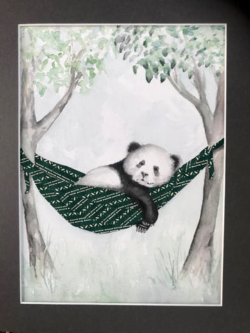 Panda in Hammock - Original Watercolor Painting 11x14''