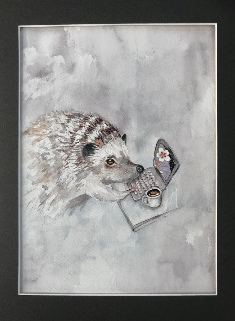 Hedgehog- Original Watercolor Painting 11x14''