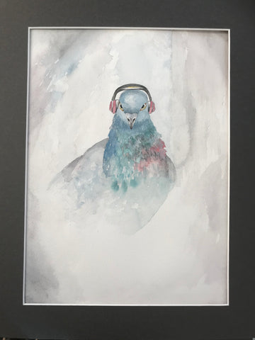Pigeon in Beats - Original Watercolor Painting 11x14''