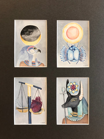 Egyptian Card Set - 4 Original Watercolor Paintings