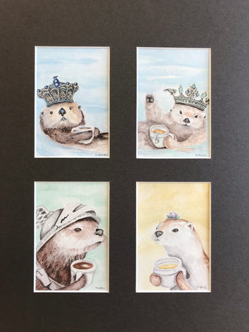 Cups Court - 4 Original Watercolor Paintings