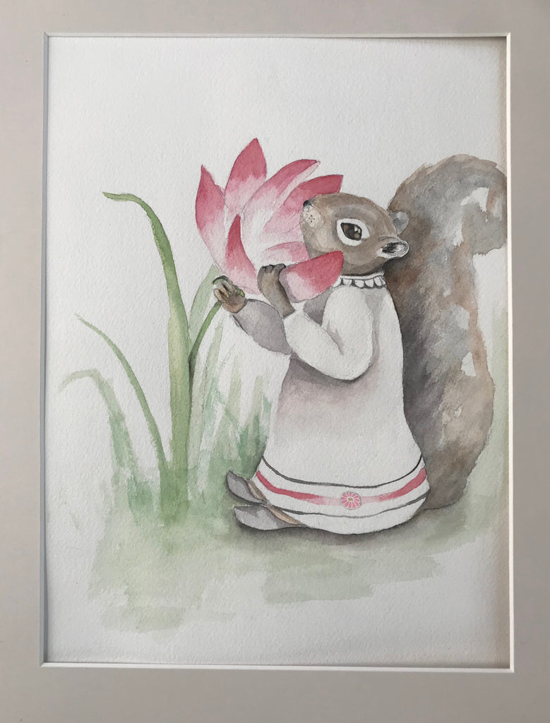 Squirrel with Flower- Original Watercolor Painting 11x14''