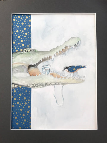 Crocodile- Original Watercolor Painting 11x14''