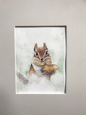 Chipmunk - Original Watercolor Painting 11x14''