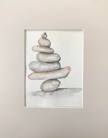 Stacked Stones - Original Watercolor Painting 11x14''