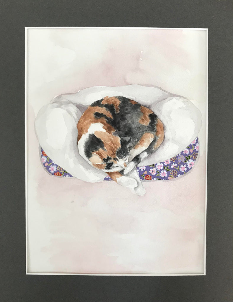 Kitty Cuttle- Original Watercolor Painting 11x14''