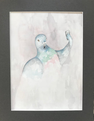 Pigeon Selfie - Original Watercolor Painting 11x14''