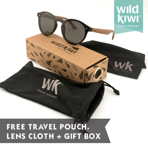 Bamboo and Wooden sunglasses with sunglass case, cleaning cloth and pouch. Wild Kiwi New Zealand
