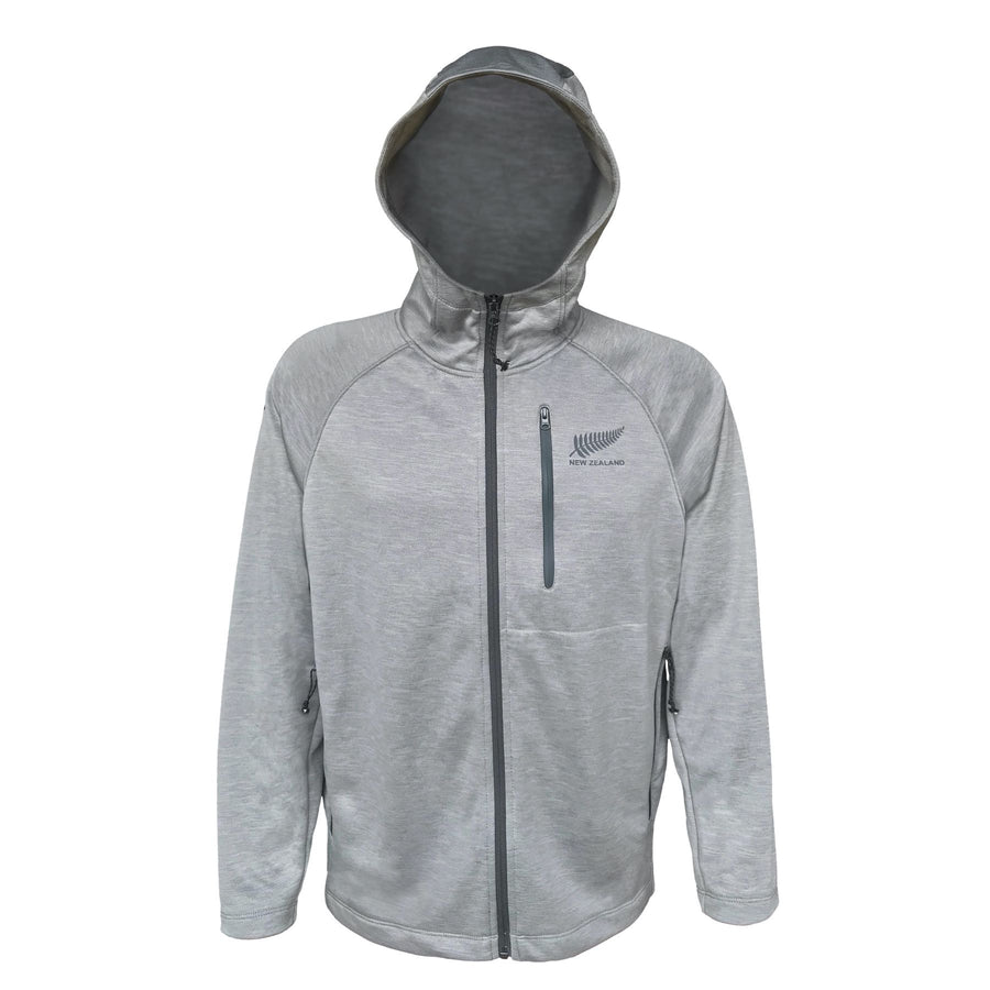 Men's light grey active wear hoodie. Lightweight and water resistant active fit fabric. www.wild-kiwi.co.nz