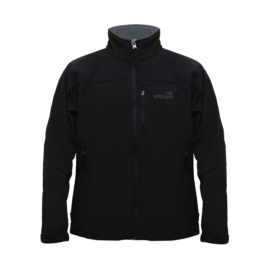 Men's black soft shell jacket. Water resistant fabric. www.wild-kiwi.co.nz
