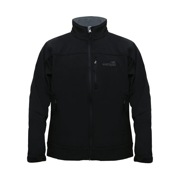 Men's Soft Shell Jacket, Black, Wild Kiwi Clothing, New Zealand.