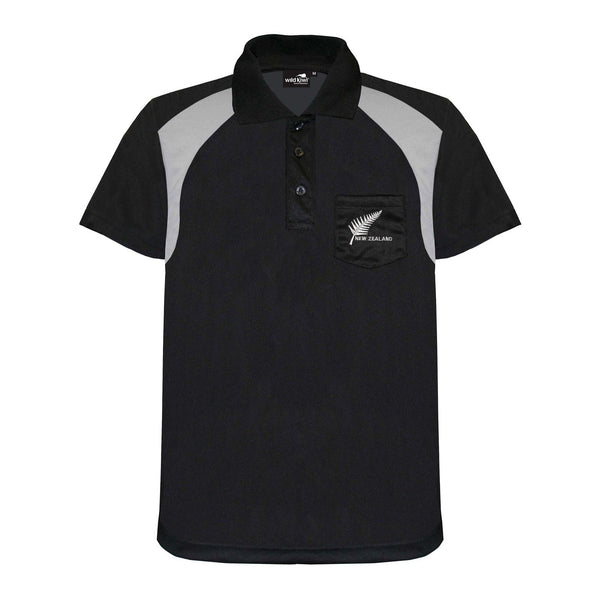 Men's Silver Fern Dry Fit Polo Shirt, Black, Wild Kiwi Clothing, New Zealand.