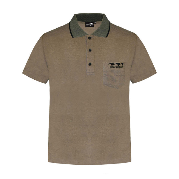 Men's 3 Kiwis embroidered Polo Shirt, Tan, Wild Kiwi Clothing, New Zealand.
