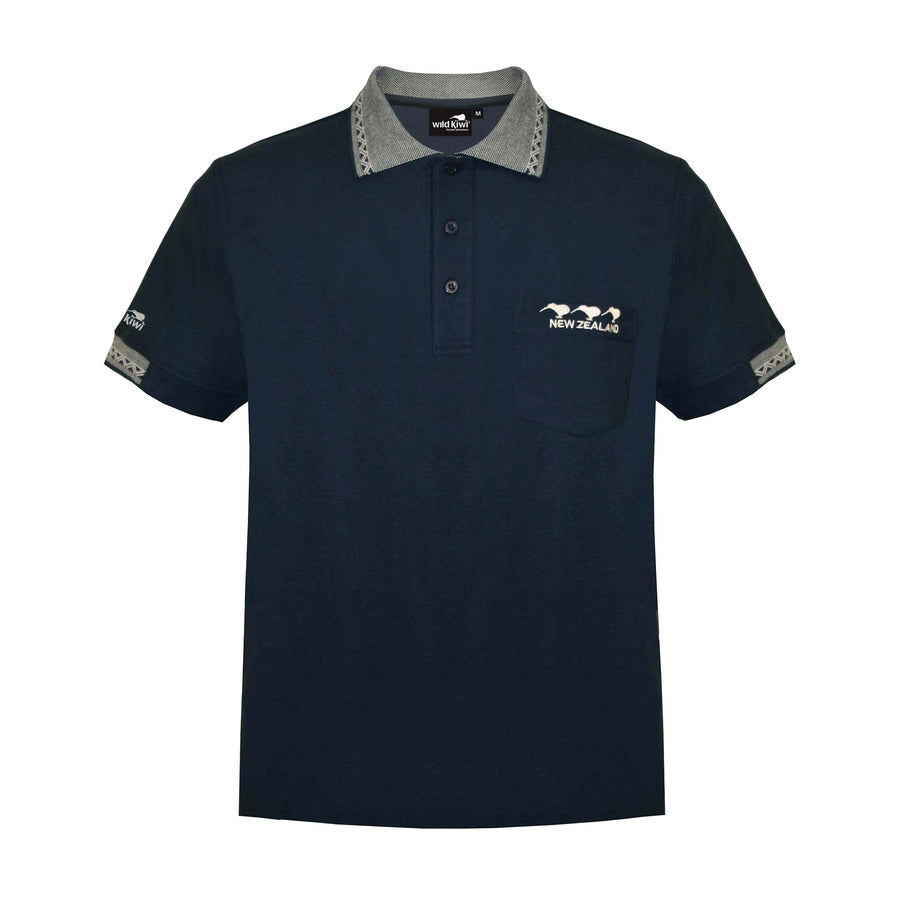 Men's 3 Kiwis embroidered Polo Shirt, Navy, Wild Kiwi Clothing, New Zealand.