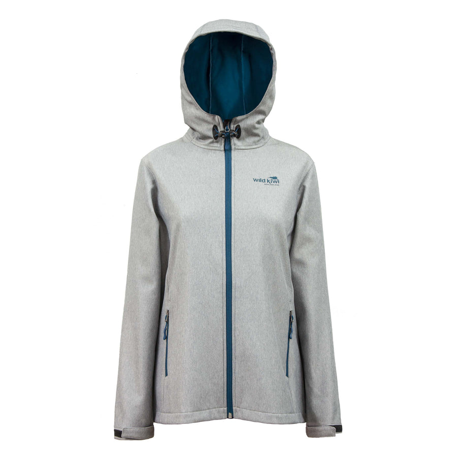 Women's grey hooded soft shell jacket with blue lining and zips. Water resistant tech shell. www.wild-kiwi.co.nz